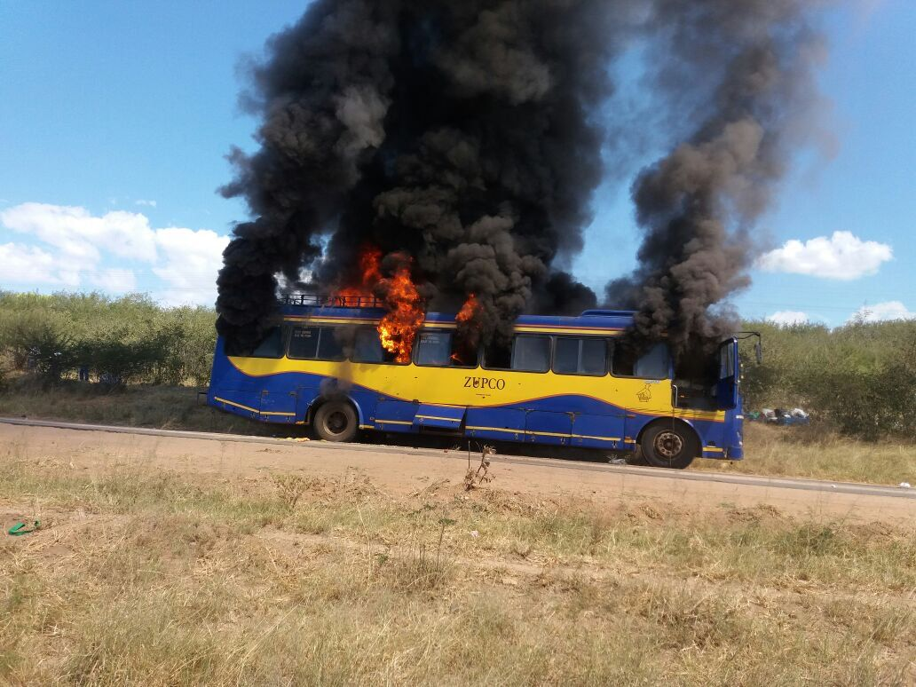 A burning ZUPCO bus. Burning like ZUPCO which is one of huge companies that failed in Zimbabwe